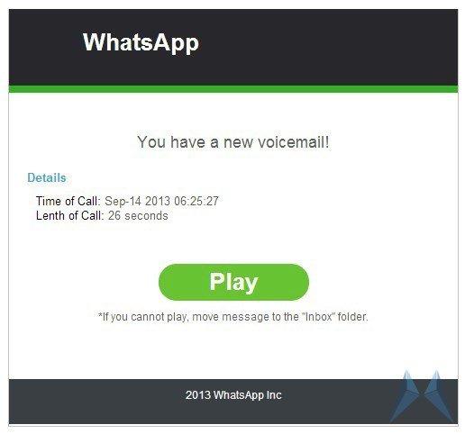 WhatsApp Spam: E-Mails täuschen Empfang einer Voicemail vor (Achtung!)