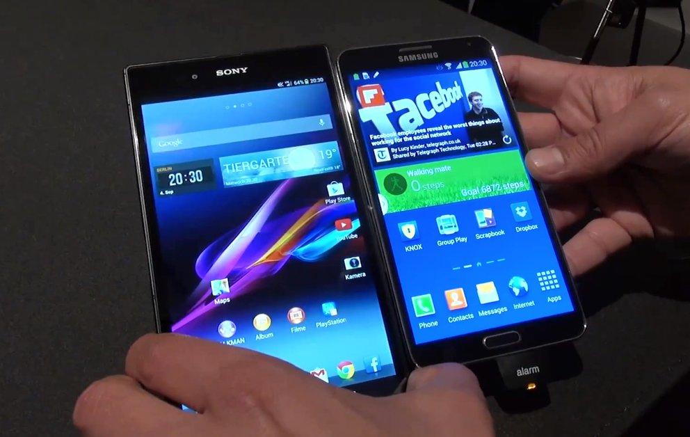 Samsung Galaxy Note 3 vs. Sony Xperia Z Ultra: Phablet-Stars im Hands-On-Vergleich [IFA 2013]