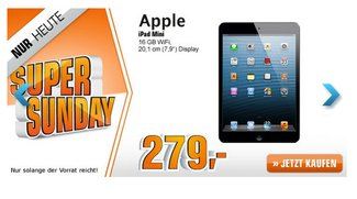Apple iPad mini 16 GB WLAN für 279,00 Euro bei Saturn