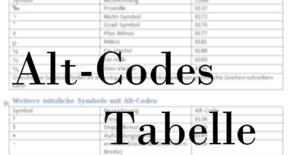 Alt Codes Tabelle Alle Symbole Mit Der Tastatur Schreiben
