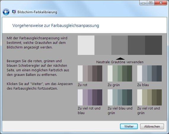 Hier könnt ihr einen Farbausgleich machen, falls euer Bildschirm einen Farbstich hat.