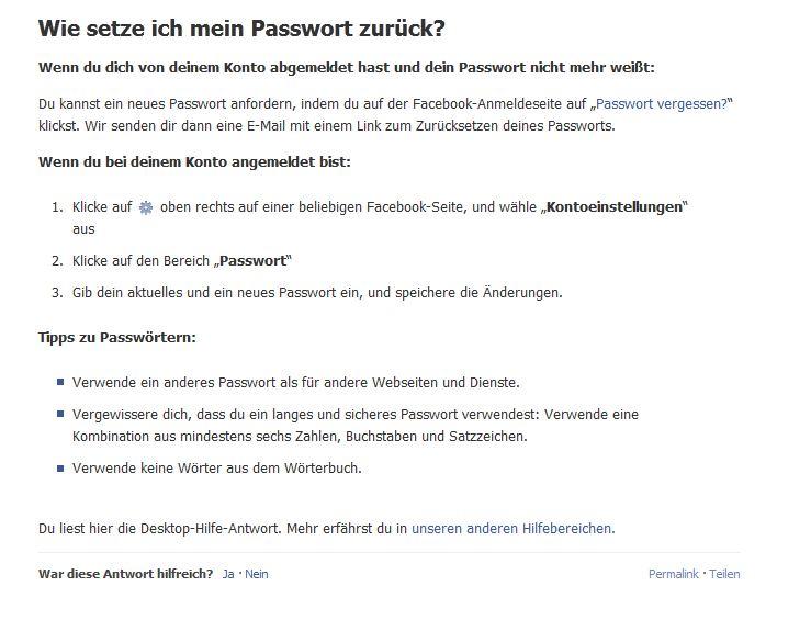 email und passwort vergessen facebook