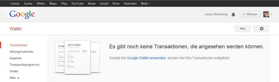 google wallet konto startfenster