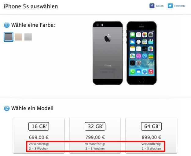 iPhone 5s: Im Apple Online Store binnen zwei bis drei Wochen verfügbar