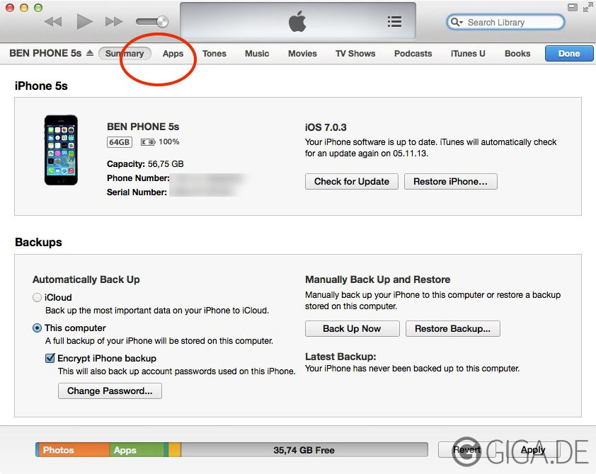 Fehlende Info-Sektion in iTunes unter Mavericks
