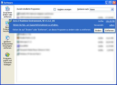 java deinstallieren windows xp