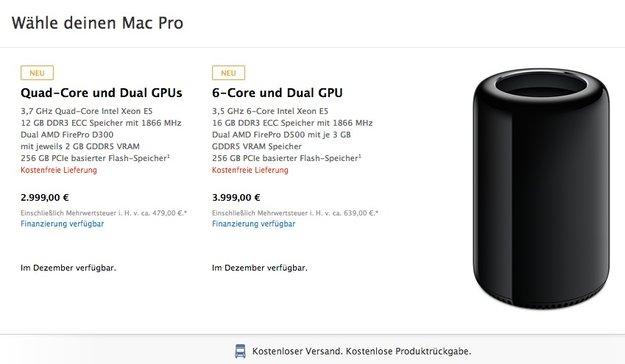 Mac Pro 2013: Im Dezember erhältlich - Preise ab 2999 Dollar