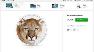 OS X Lion und Mountain Lion im Apple Online Store für jeweils 18 Euro erhälltich