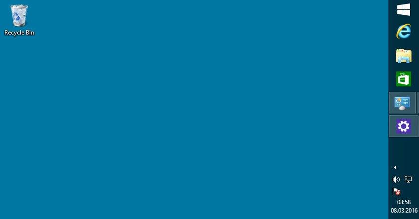Windows 8: Die Taskleiste ist an den rechten Bildschirmrand verschoben.