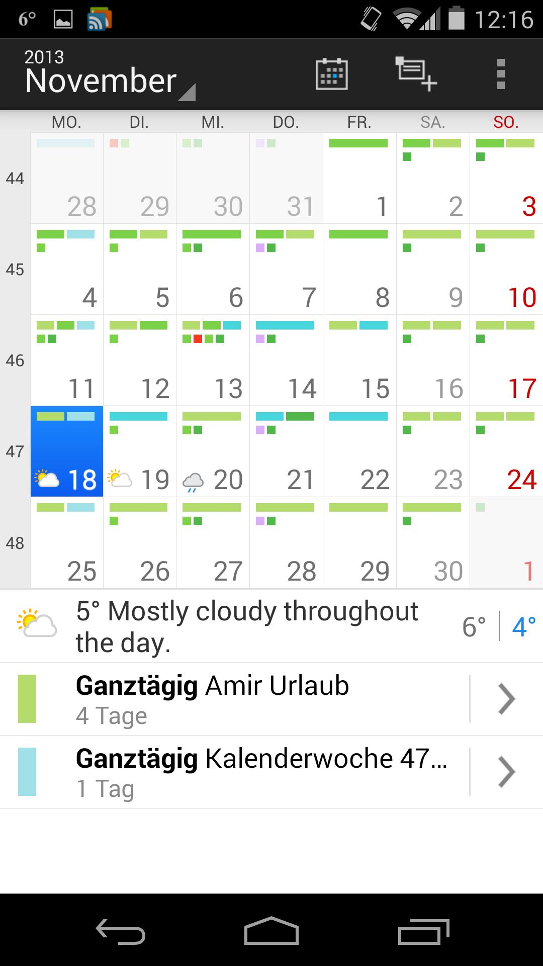 Kalender-App mit