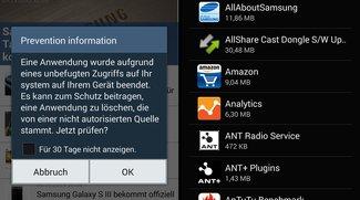 Samsung Galaxy S4 und Note 3: Prevention Information-Meldung sorgt für Verwirrung