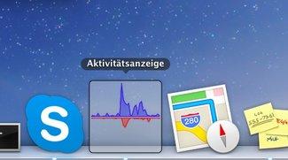 OS X 10.9 Mavericks: Aktivitätsanzeige mit Anzeige-Optionen im Dock und Energie-Informationen