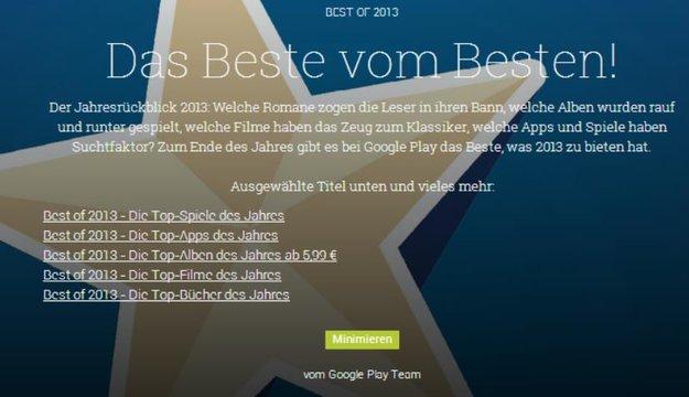 Best of 2013: Der Google Play Store Jahresrückblick