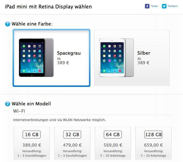 iPad mini mit Retina Display: Ab sofort im Apple Online Store erhältlich