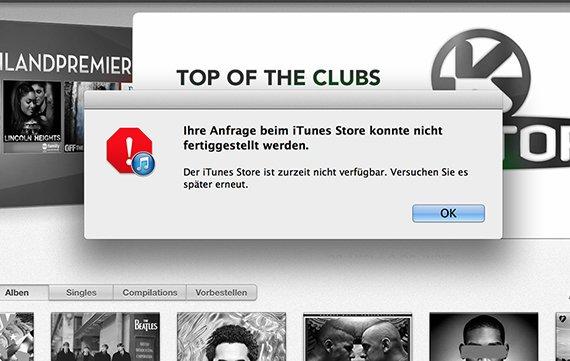 """iTunes-Store-Problem: """"Ihre Anfrage konnte nicht fertiggestellt werden"""" - die Lösung"""