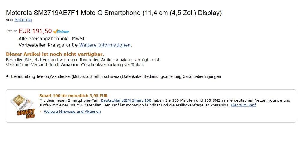 Moto G: In Deutschland vorbestellbar – ab 169&nbsp&#x3B;Euro