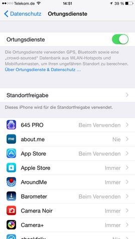 iOS 8 Ortungsdienste