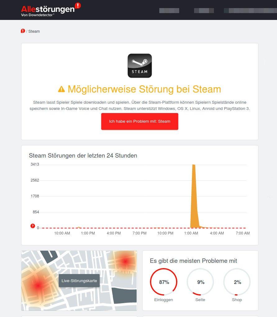 Steam Störung