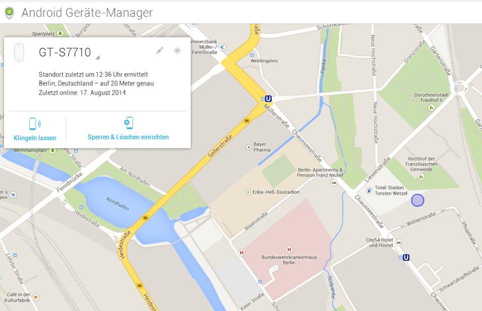Der Android-Geräte-Manager ortet euer Handy.