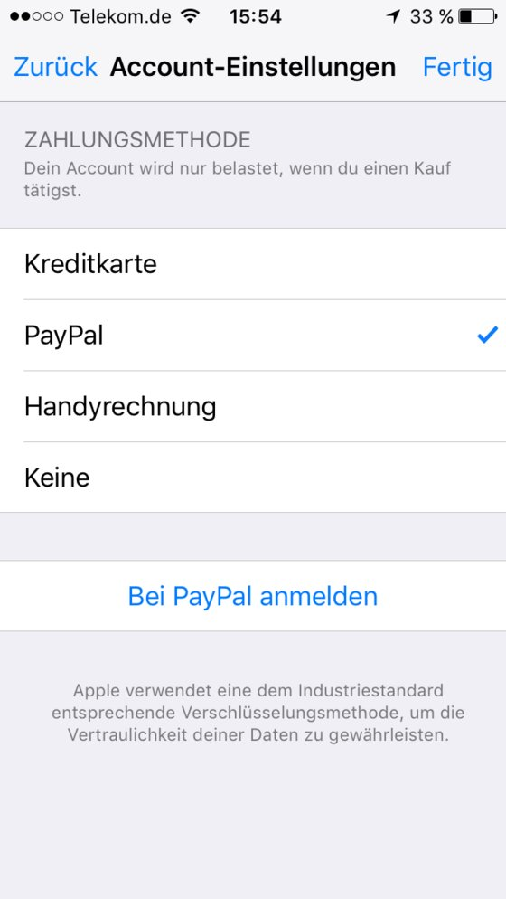 iTunes PayPal bezahlen