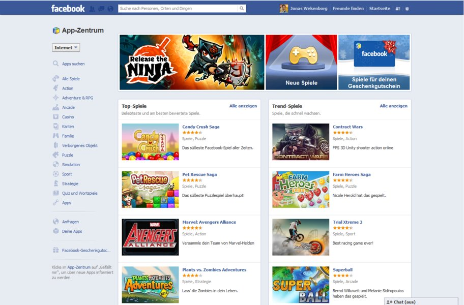 facebook app center spiele