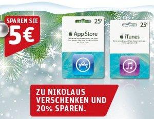 iTunes-Karten mit 20 Prozent Rabatt im Dezember 2013 (Update)