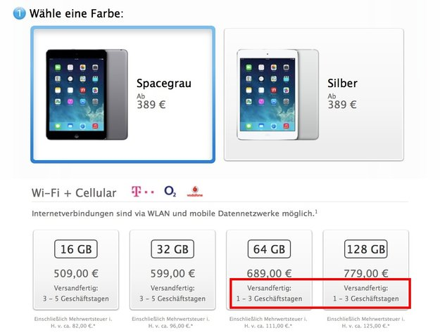 Retina-iPad mini: Lieferzeiten jetzt teilweise bei ein bis drei Geschäftstagen