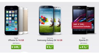 iPhone 5s für 149 € mit Allnet Flat (31 €/Monat) oder Galaxy S4 16 GB, bzw. Sony Xperia Z1 für 1 €