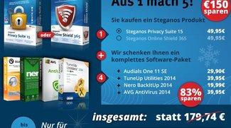 Steganos Privacy Suite 15 für 29,74 € + NeroBackItUp, AVG Anti Virus, Audials One 11, TuneUp Utilities gratis dazu