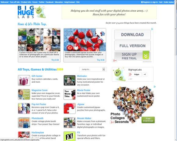 Die BigHugeLabs Webseite