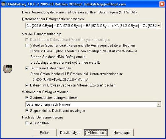 Das Programmfenster von HDiskDefrag