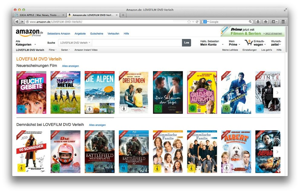 Amazon DVD-Verleih Lovefilm