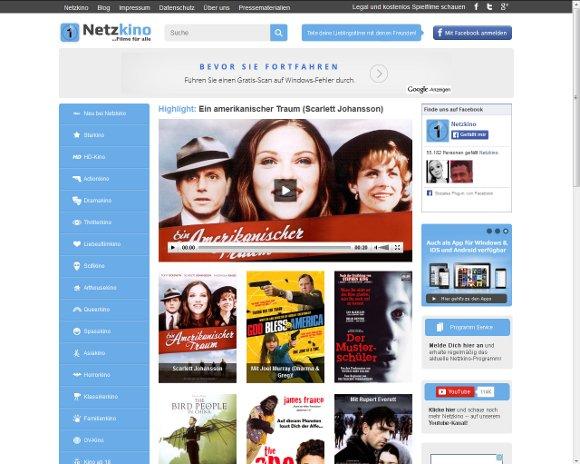 Ansicht der Netzkino Webseite