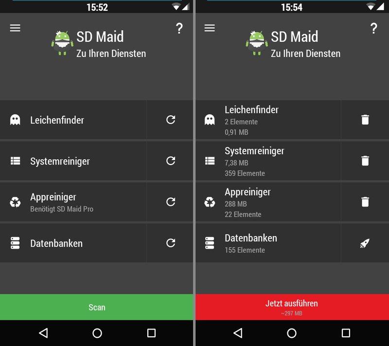 Die App SD Maid zeigt an, wieviel Speicherplatz gewonnen werden kann.