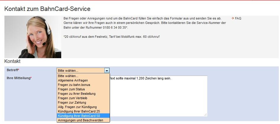 bahncard service kuendigen - Bahncard Kundigen Muster