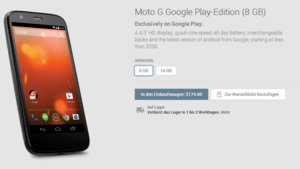 Jetzt mit nacktem Android: Moto G Google Play Edition