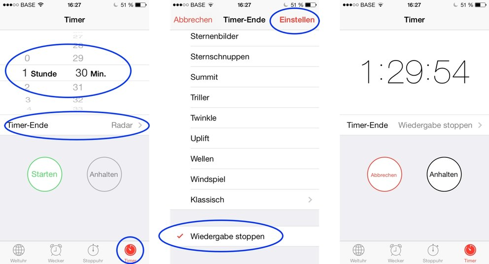 Sleep-timer in iOS 7 einstellen