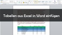 Excel-Tabelle in Word einfügen
