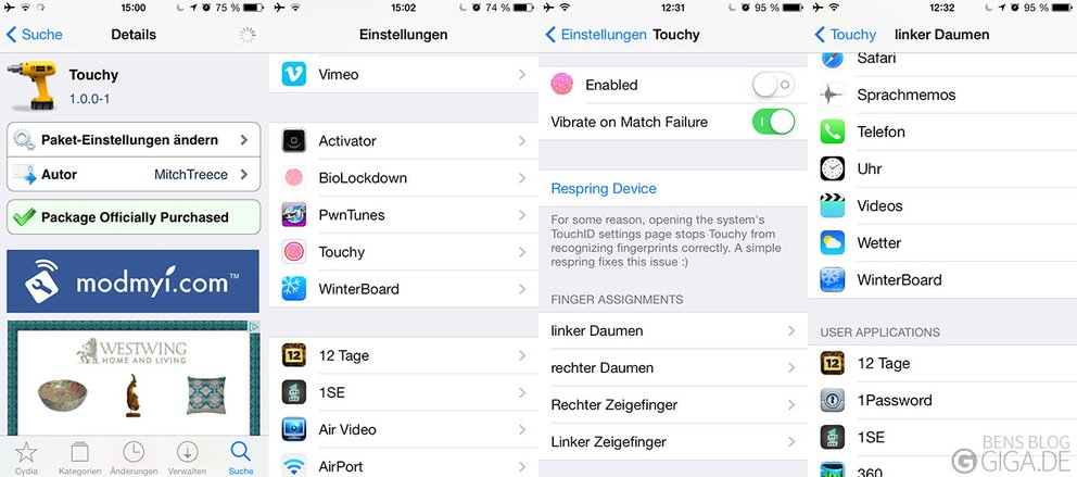 Touchy - Add-on für Touch ID