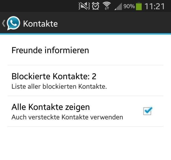 Blockierte Kontakte Whatsapp Info Kontakte In Whatsapp