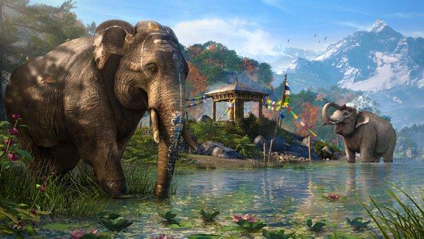 Far Cry 4: Nicht nur mit motorisierten Fahrzeugen reist ihr durch Kyrat, auch auf dem Rücken von Elefanten