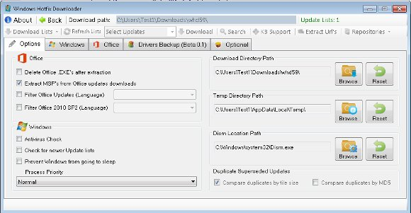 Optionen von Windows Hotfix Downloader
