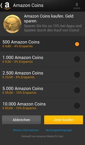 Die Coin-Pakete in der Übersicht