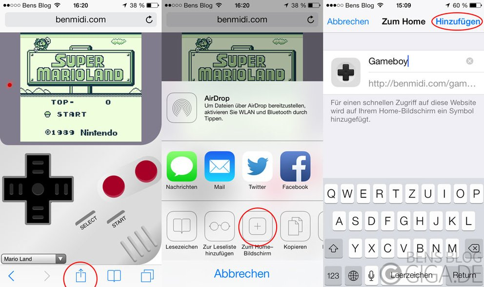 Game Boy Classic Emulator auf dem Homescreen ablegen
