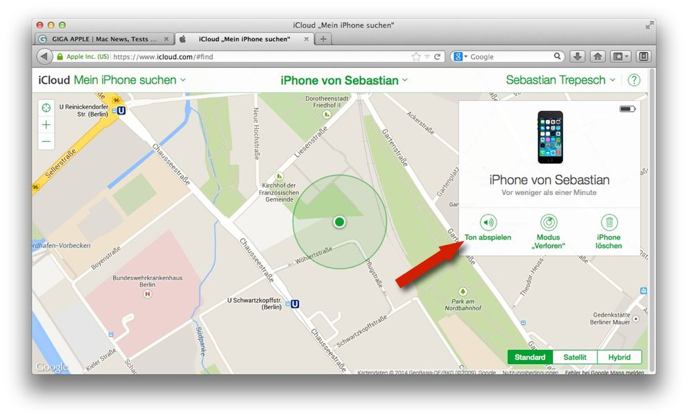 Mein iPhone suchen: Ton abspielen