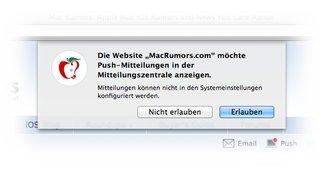 OS X 10.9 Mavericks: Push-Mitteilungen von Webseiten deaktivieren