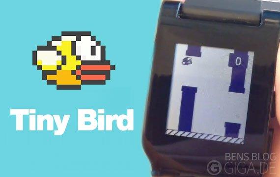 Tiny Bird: Flappy Bird auf der Pebble Smart Watch spielen