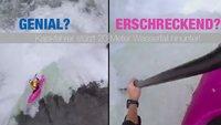 Erschreckend? Genial? Kajakfahrer stürzt 20 Meter Wasserfall hinunter!