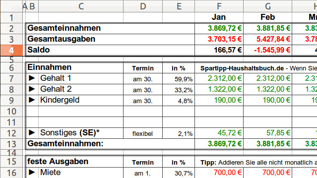 Excel Haushaltsbuch Download