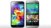 HTC One (M8) vs. Samsung Galaxy S5: Hands-On und Daten